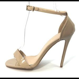 NEW Cathy Jean Patent Leather Nude Heels Size 7